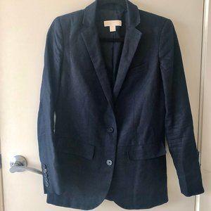 Michael Michael Kors Navy Blue 100% Linen Blazer